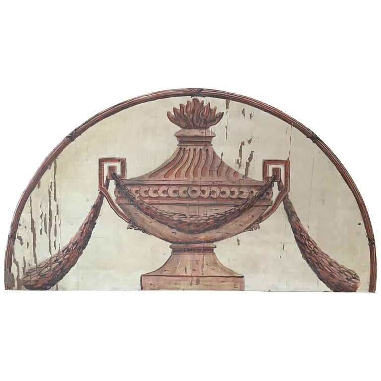 Classical Urn Painted on Wood Plaque For Sale