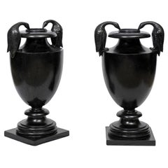 Classical Urn with Cormorant Handles Cast in Black Wax Stone