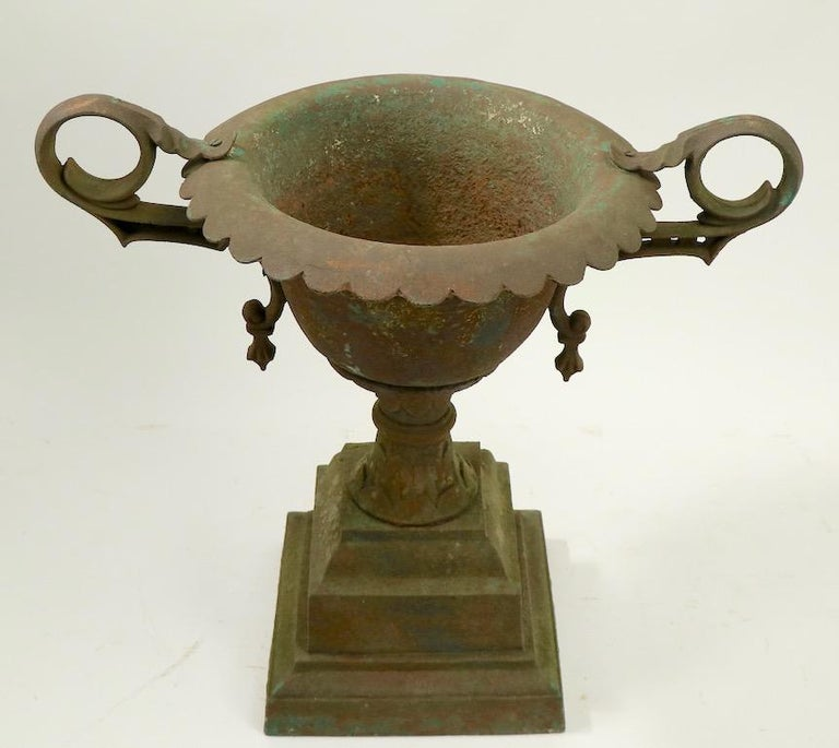 Classical Victorian Cast Iron Urn Planter Probably Fisk or Mott with Handles For Sale 3