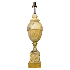 Classical Yellow Marble Lamp in the Shape of a Covered Urn