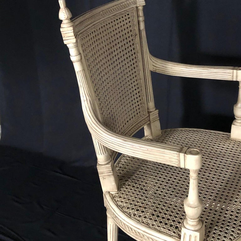 Classically Elegant French Louis XVI Style Painted Armchair with Double Caning In Good Condition For Sale In Hopewell, NJ
