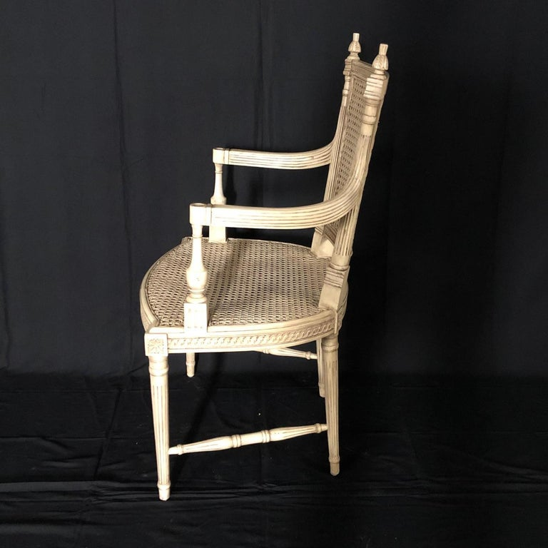 Mid-20th Century Classically Elegant French Louis XVI Style Painted Armchair with Double Caning For Sale