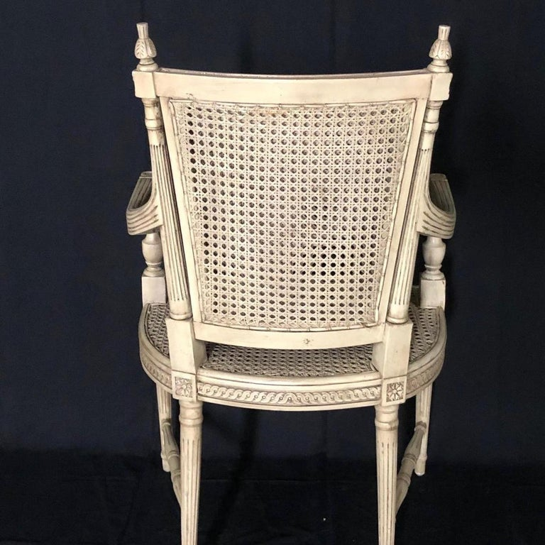 Cane Classically Elegant French Louis XVI Style Painted Armchair with Double Caning For Sale