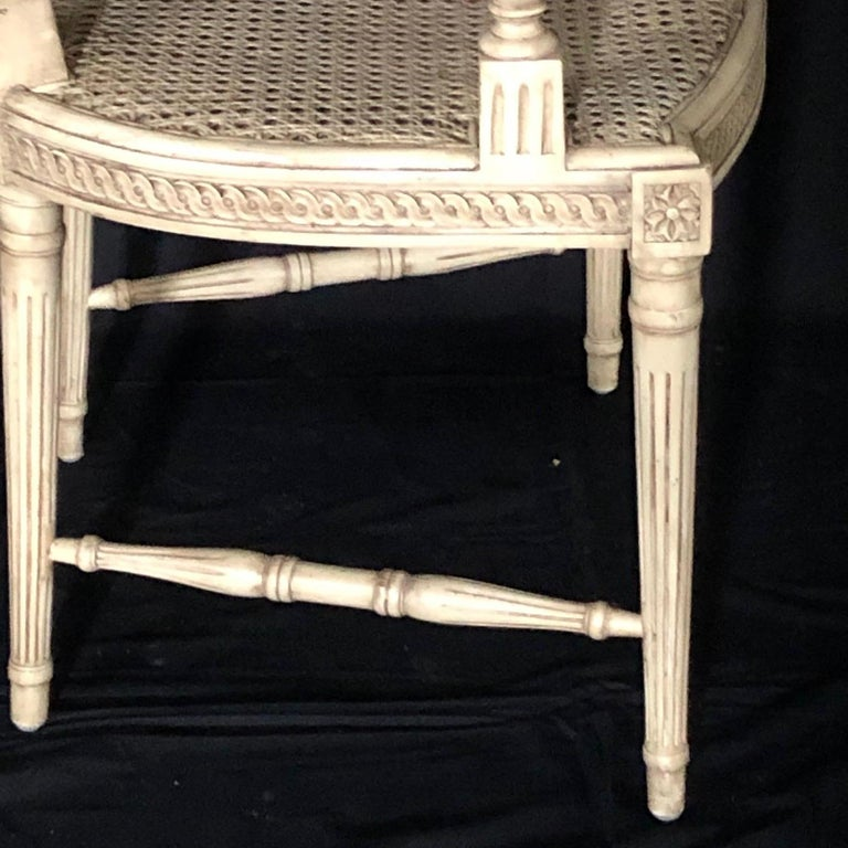 Classically Elegant French Louis XVI Style Painted Armchair with Double Caning For Sale 1