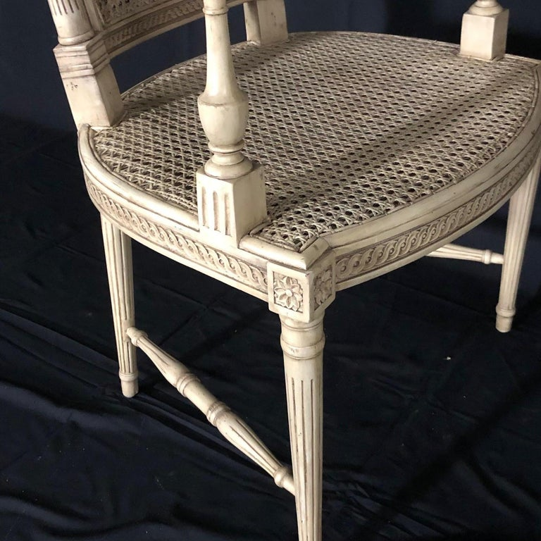 Classically Elegant French Louis XVI Style Painted Armchair with Double Caning For Sale 2