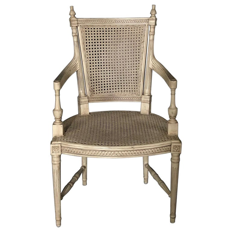 Classically Elegant French Louis XVI Style Painted Armchair with Double Caning For Sale