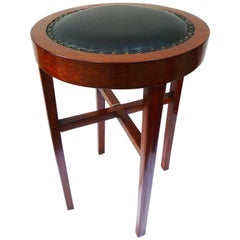Classicist Stool with Leather Upholstery