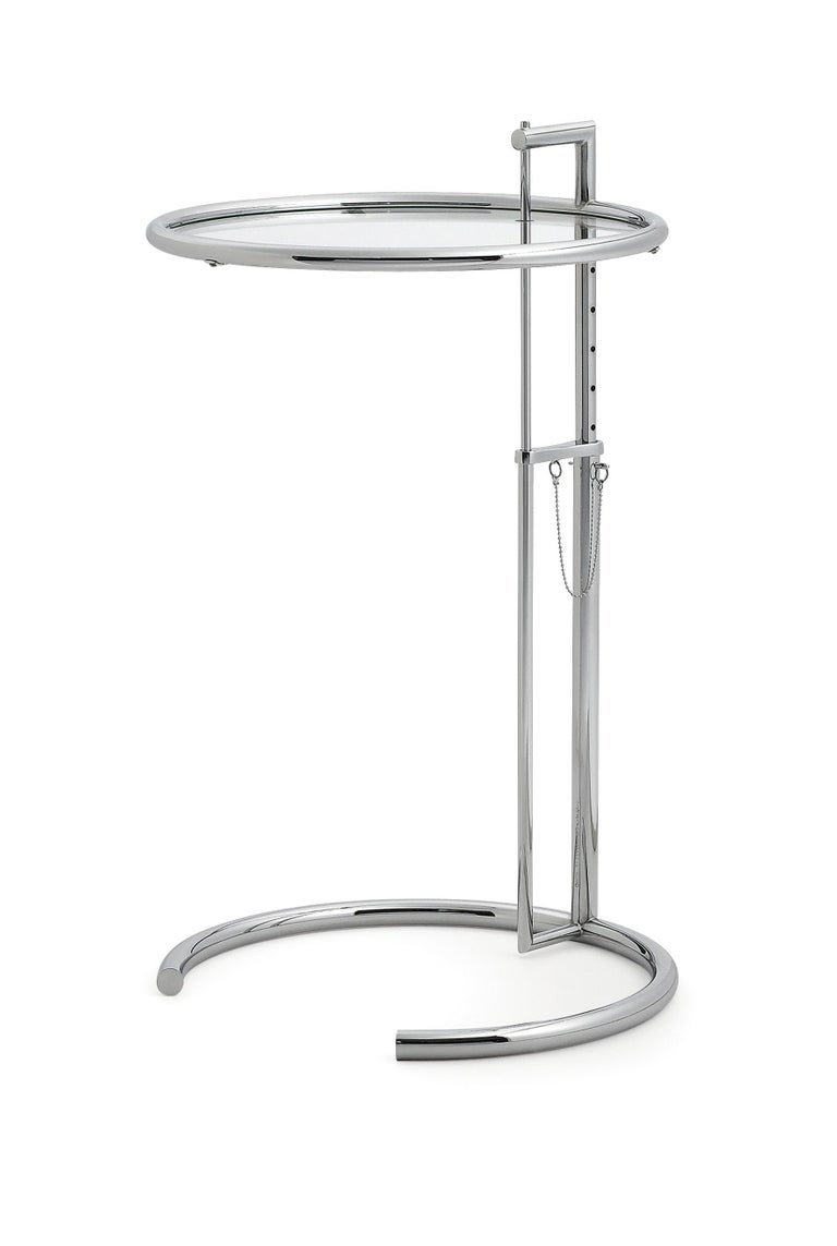 Modern ClassiCon Adjustable Table E 1027 in Chrome and Crystal by Eileen Gray For Sale