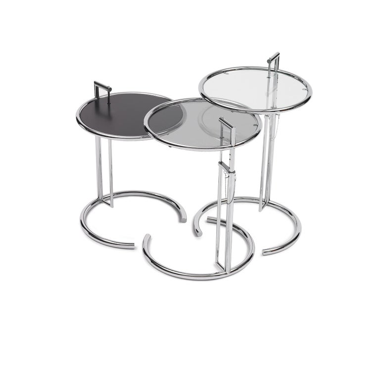 German ClassiCon Adjustable Table E 1027 in Chrome and Crystal by Eileen Gray For Sale