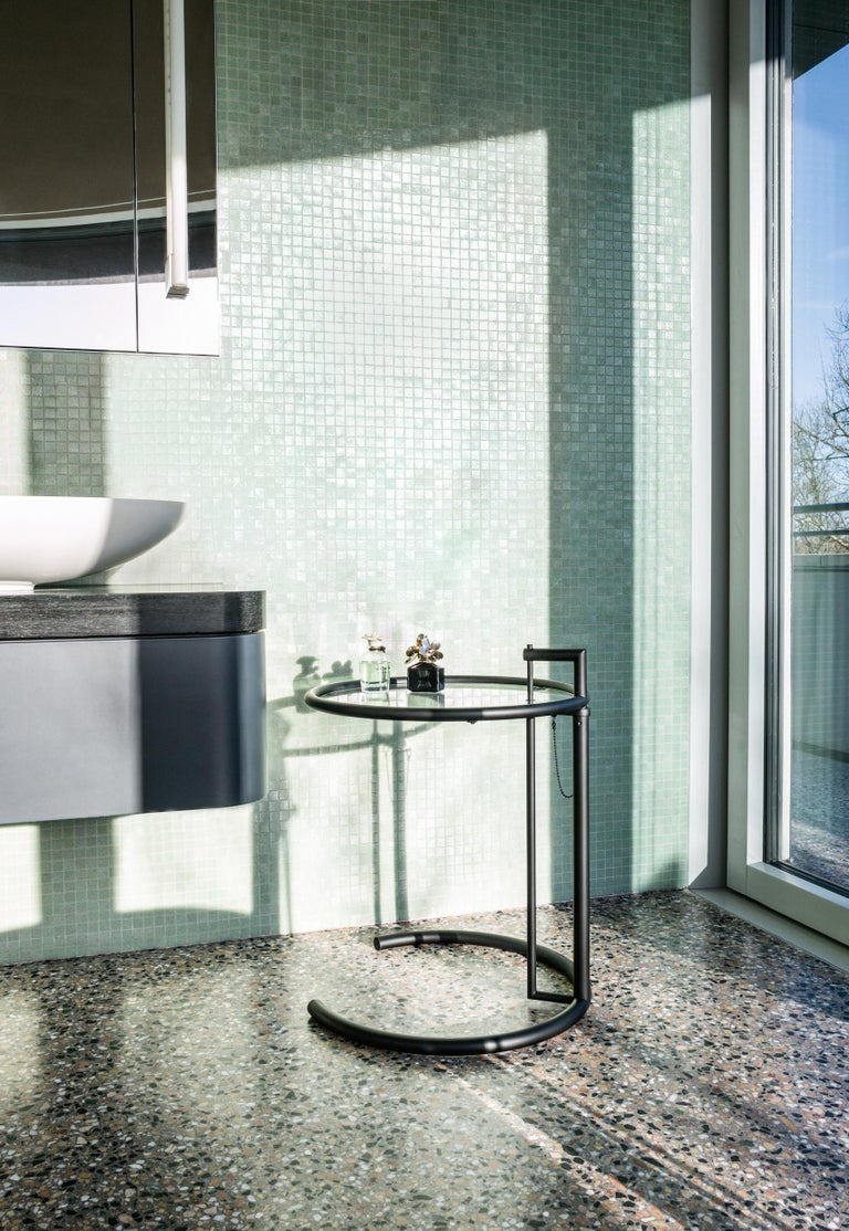Contemporary ClassiCon Adjustable Table E 1027 in Chrome and Crystal by Eileen Gray For Sale