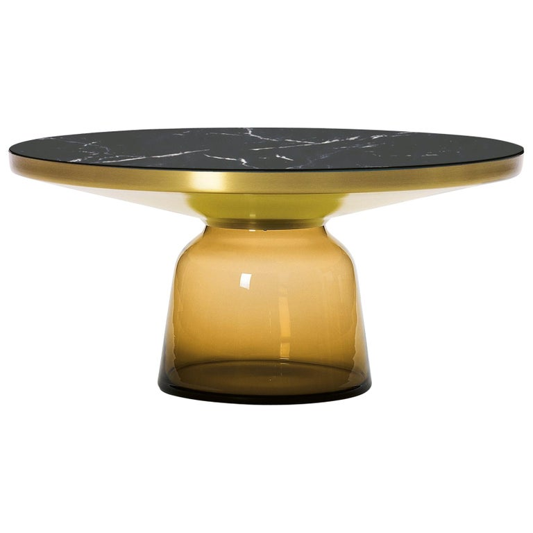 ClassiCon Bell Coffee Table in Amber Orange & Nero Marquina by Sebastian Herkner For Sale