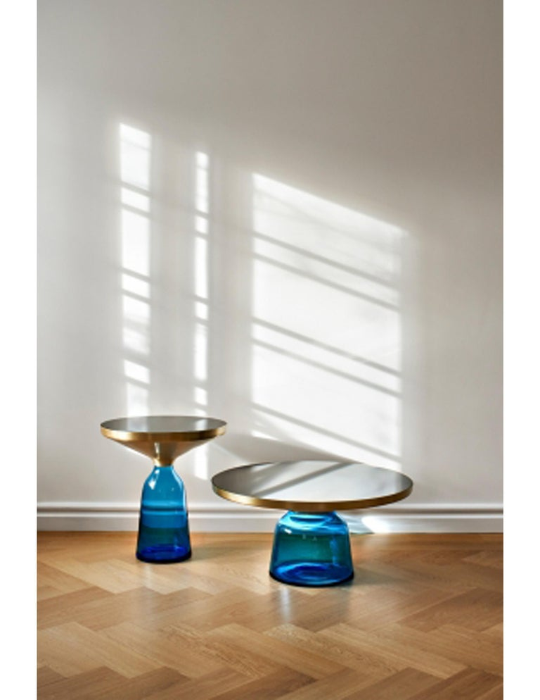 Modern ClassiCon Bell Coffee Table in Brass and Sapphire Blue by Sebastian Herkner For Sale
