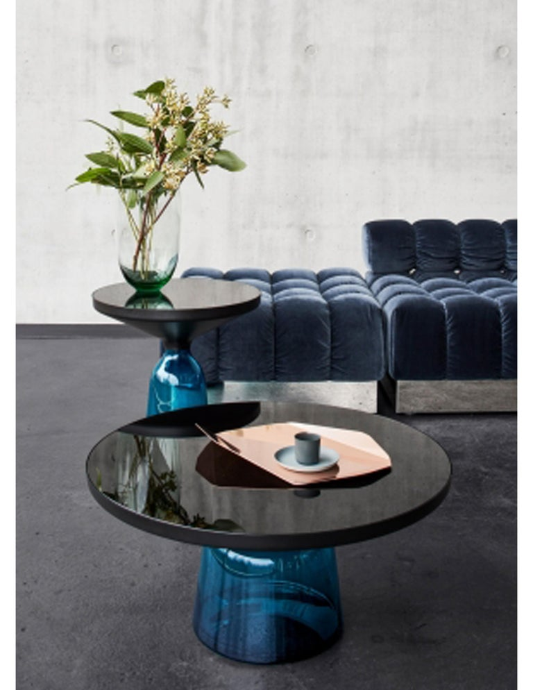 Hand-Crafted ClassiCon Bell Coffee Table in Brass and Sapphire Blue by Sebastian Herkner For Sale