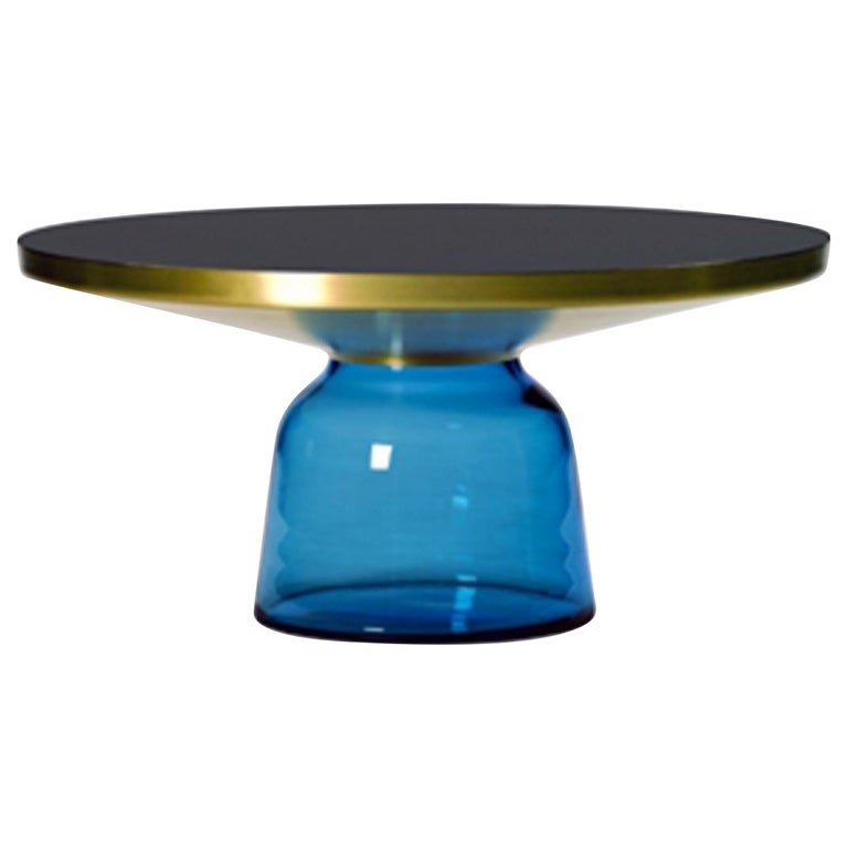 ClassiCon Bell Coffee Table in Brass and Sapphire Blue by Sebastian Herkner For Sale