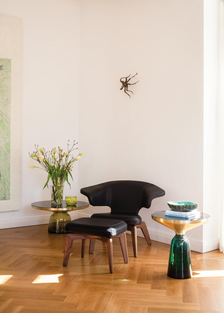 Blown Glass ClassiCon Bell Coffee Table in Brass and Emerald Green by Sebastian Herkner For Sale