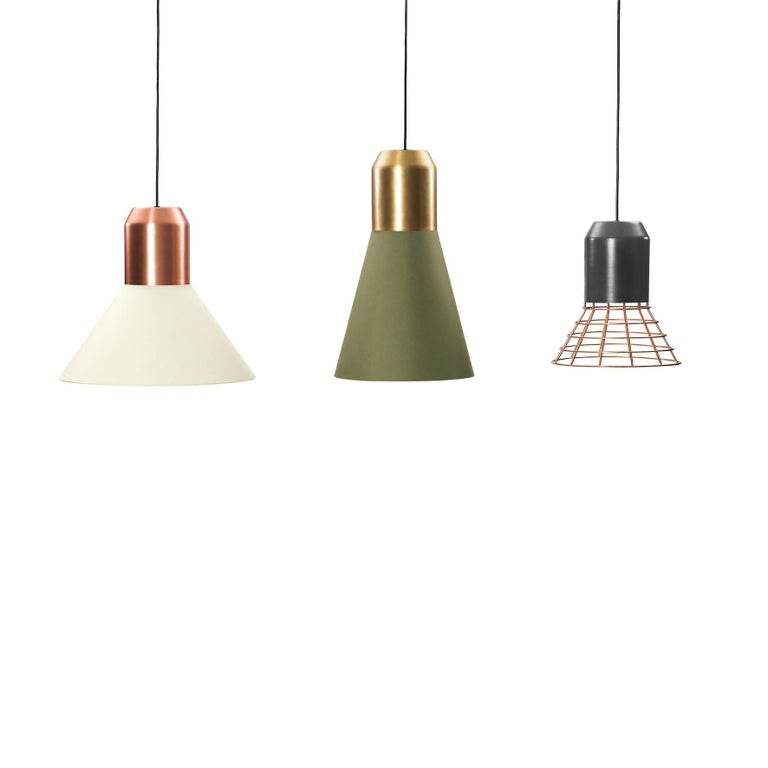 Modern ClassiCon Bell Light Pendant Lamp Green Fabric with Brass by Sebastian Herkner For Sale