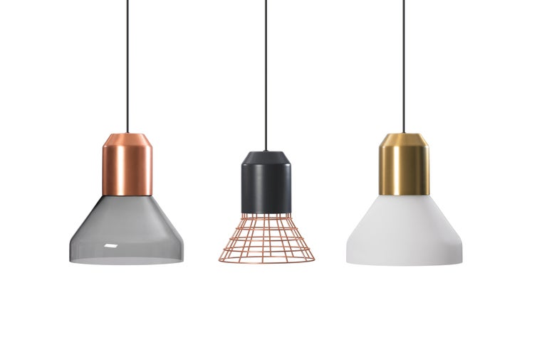 German ClassiCon Bell Light Pendant Lamp in Grey Copper Cage by Sebastian Herkner For Sale