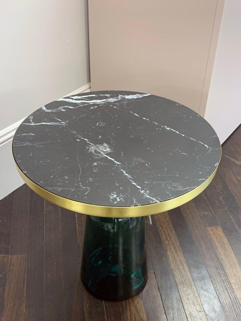ClassiCon Bell Side Table in Brass, Emerald Green & Marble by Sebastian Herkner For Sale 3