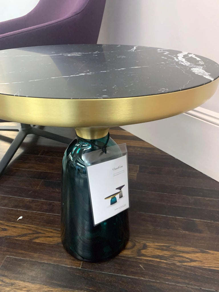 ClassiCon Bell Side Table in Brass, Emerald Green & Marble by Sebastian Herkner In Excellent Condition For Sale In New York, NY