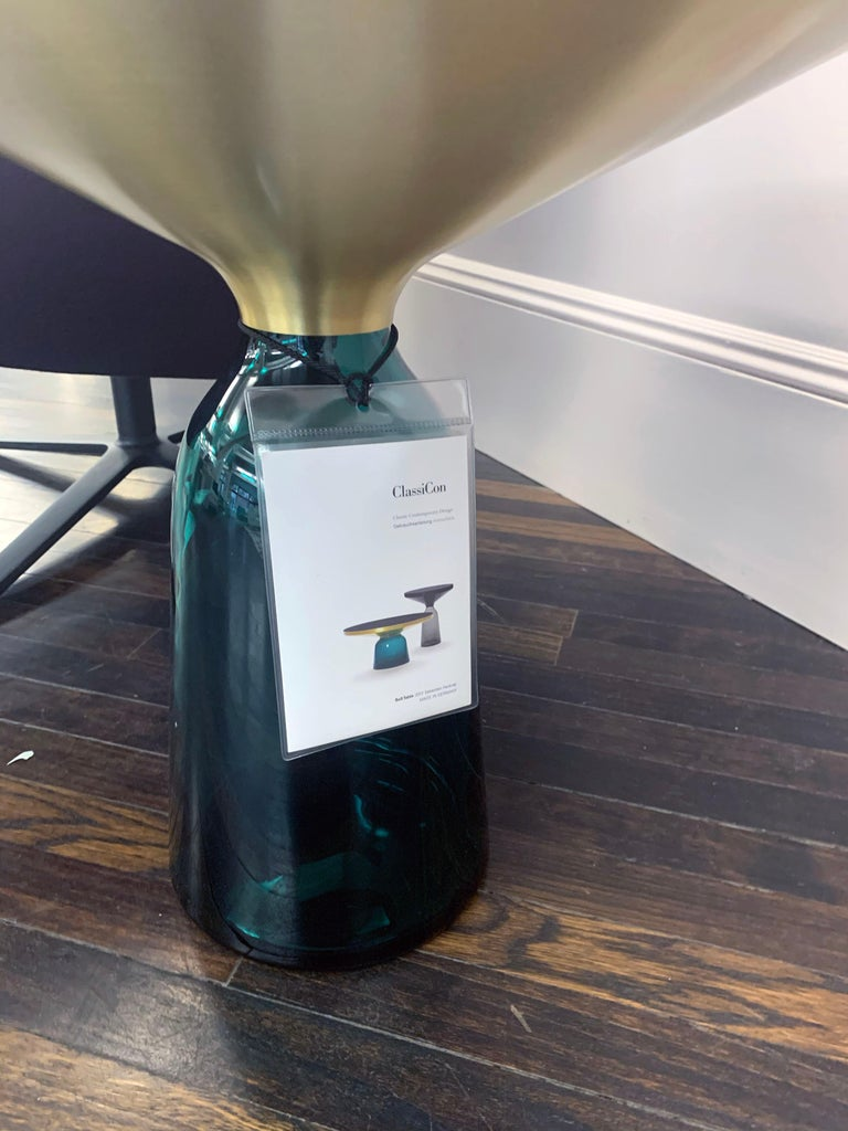 Contemporary ClassiCon Bell Side Table in Brass, Emerald Green & Marble by Sebastian Herkner For Sale