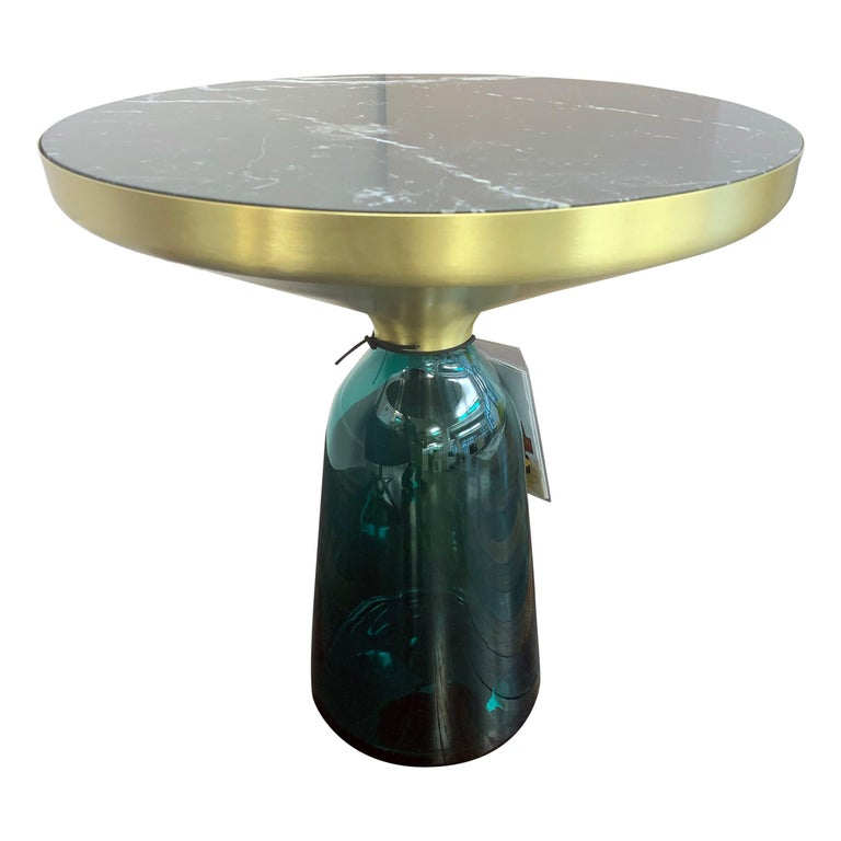 ClassiCon Bell Side Table in Brass, Emerald Green & Marble by Sebastian Herkner For Sale