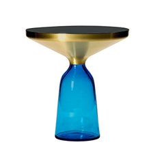 ClassiCon Bell Side Table in Brass and Sapphire Blue by Sebastian Herkner