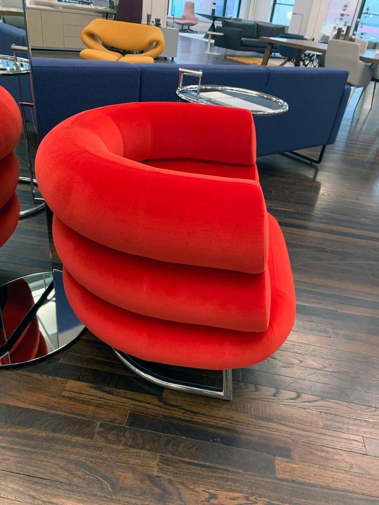 Modern Classicon Red Velvet Bibendum Lounge Chair by Eileen Gray For Sale