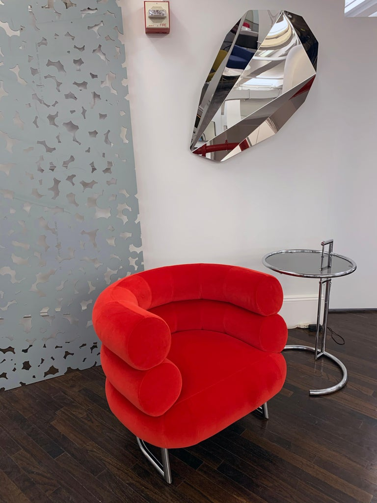 German Classicon Red Velvet Bibendum Lounge Chair by Eileen Gray For Sale