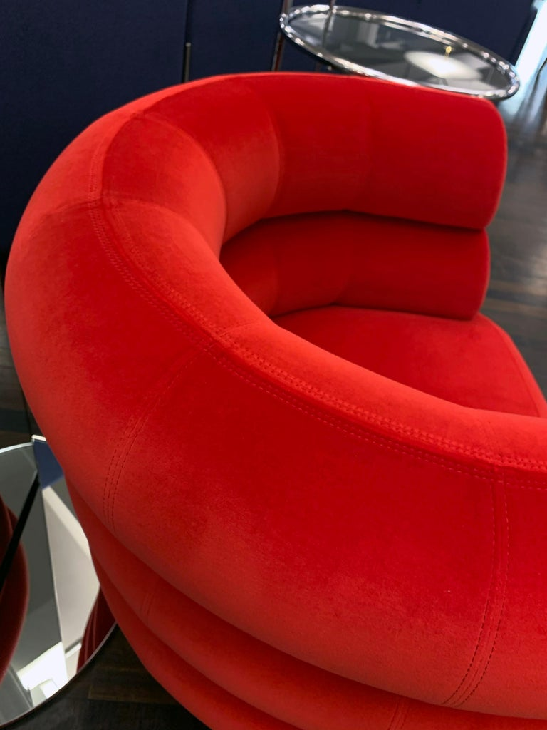 Classicon Red Velvet Bibendum Lounge Chair by Eileen Gray In New Condition For Sale In New York, NY