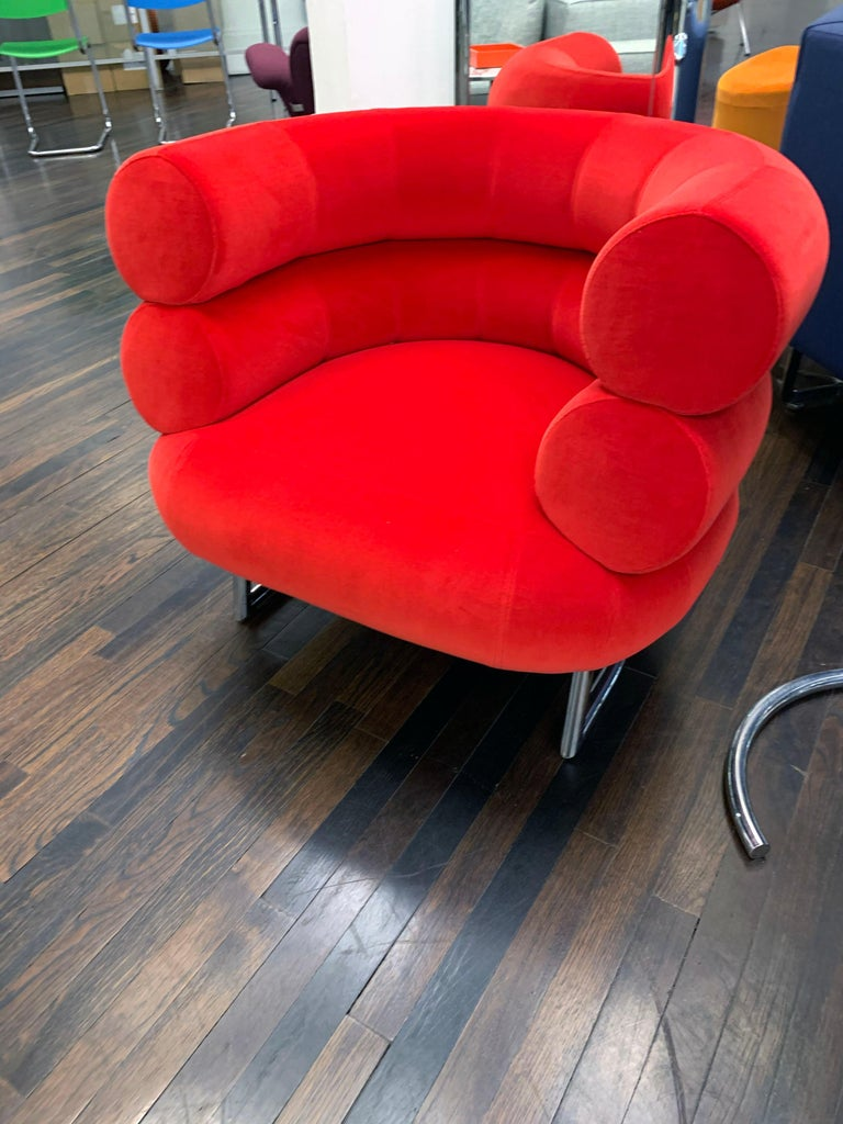 Contemporary Classicon Red Velvet Bibendum Lounge Chair by Eileen Gray For Sale