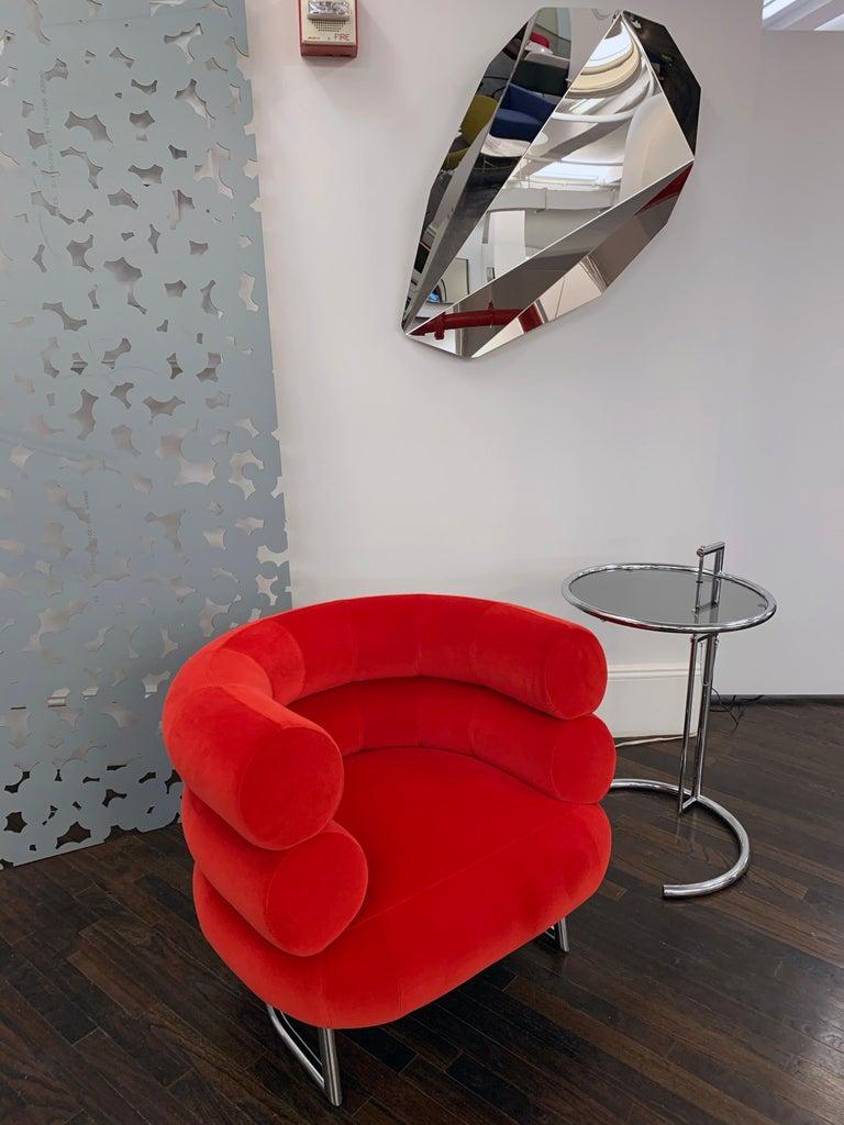 Classicon Red Velvet Bibendum Lounge Chair by Eileen Gray For Sale 1