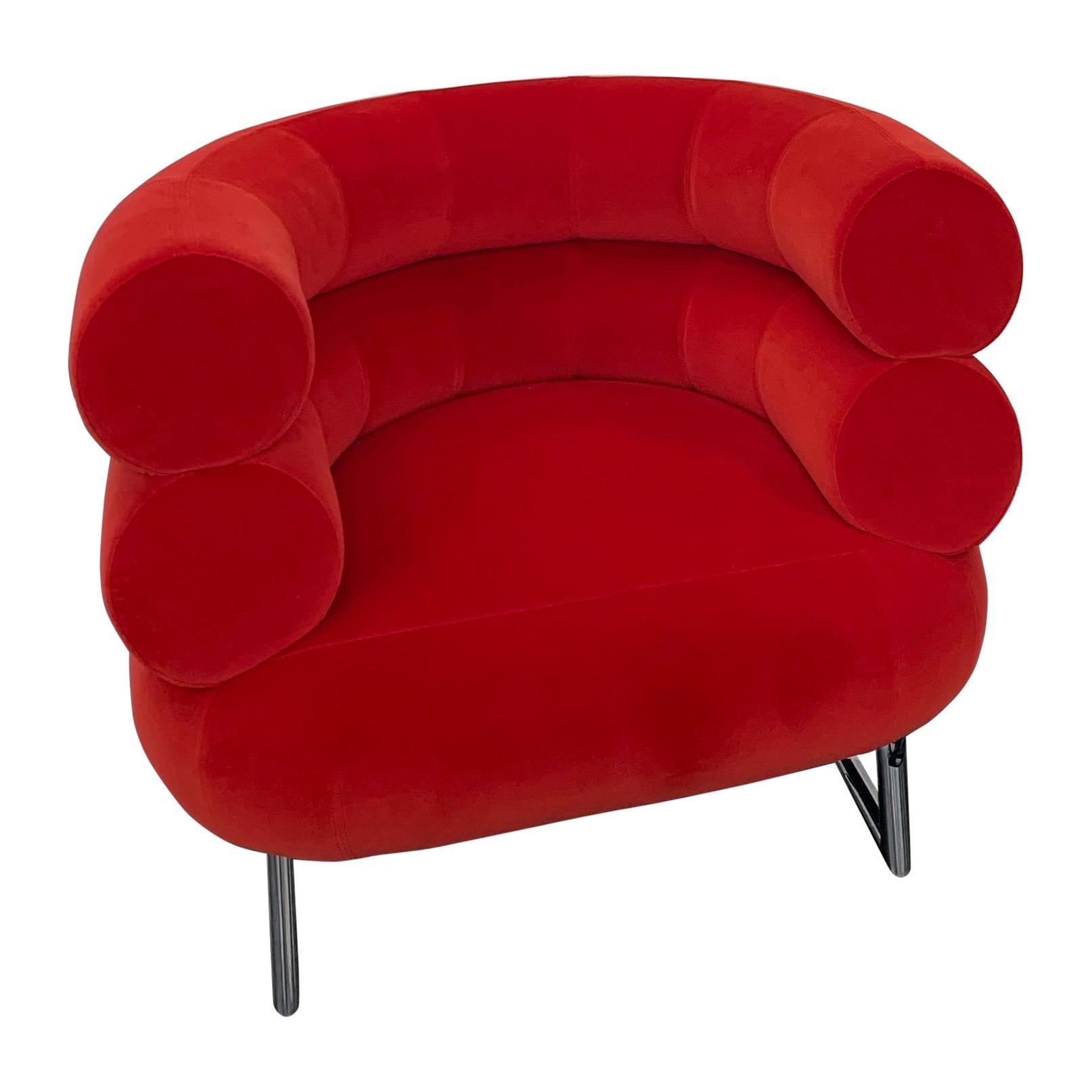 Classicon Red Velvet Bibendum Lounge Chair by Eileen Gray