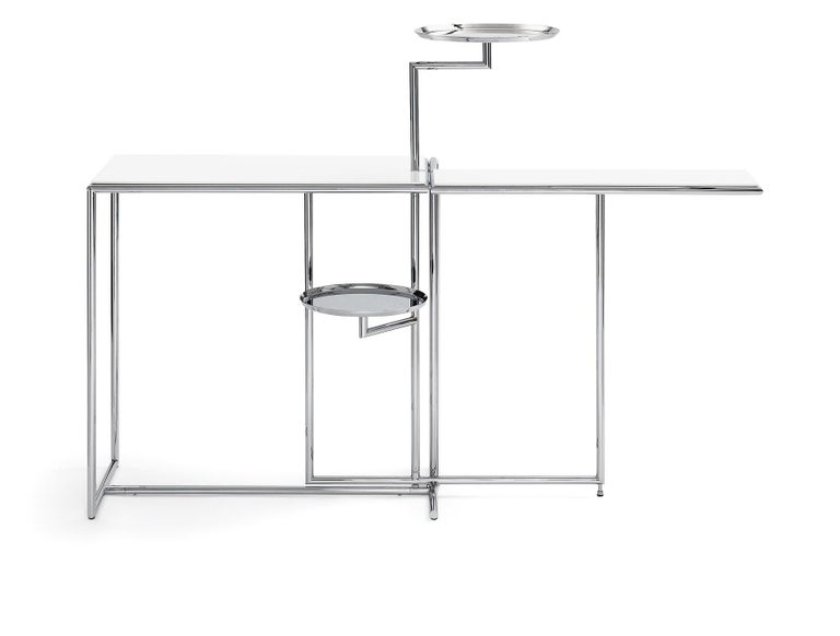 Modern ClassiCon Rivoli Side Table in White and Steel by Eileen Gray For Sale