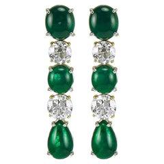 Classy 13.72 Carat Platinum Green Emerald and Diamond Earrings