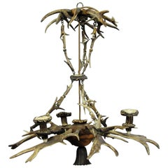 Classy Antique Black Forest Antler Chandelier
