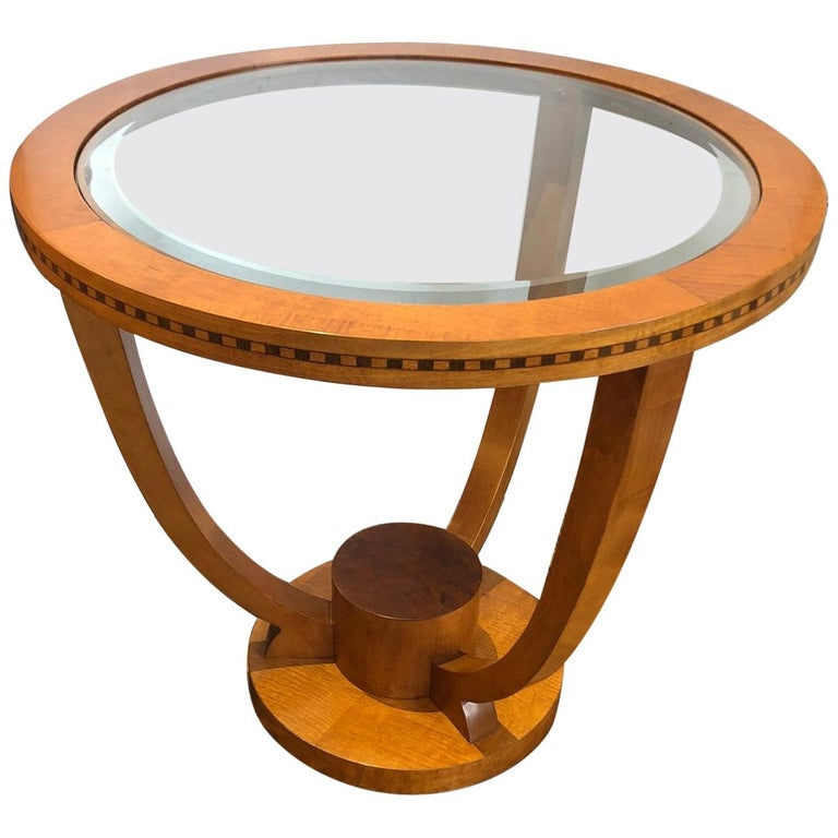 Classy Art Deco Style Round Side or End Table For Sale