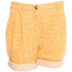 Classy Chanel Yellow Shorts Hot Pants Trousers with CC Logo Button