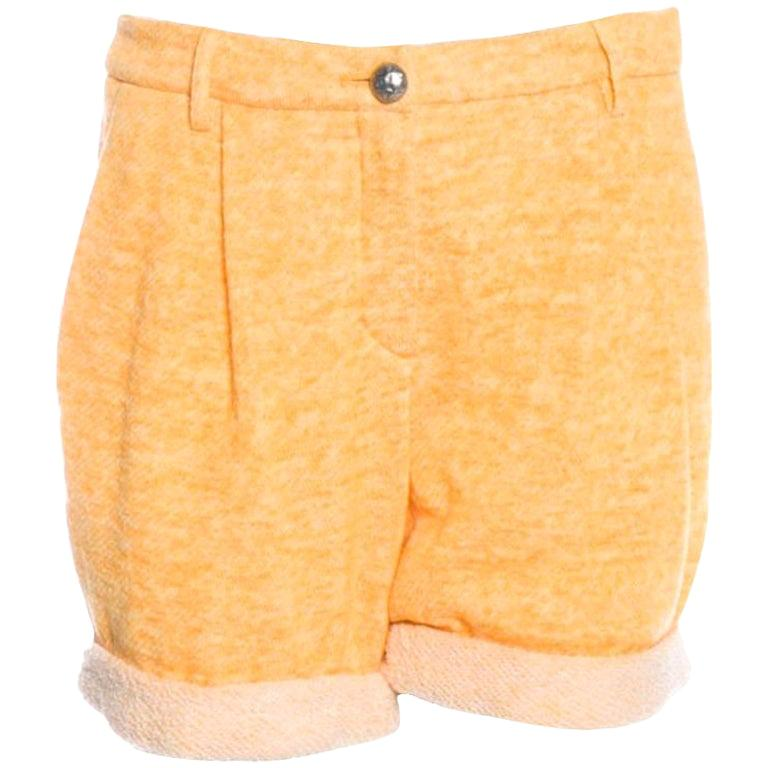 Classy Chanel Yellow Shorts Hot Pants Trousers with CC Logo Button For Sale