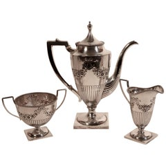 Classy Edwardian Sterling Silver Three Piece Coffee Service Udall & Ballou