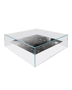 Claste at Swim, Two, Tables in Glass with Belvedere Black Marble