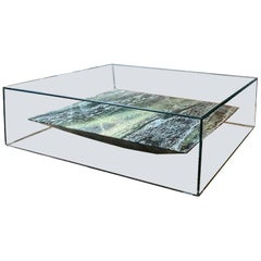 Claste at Swim, Two Tables in Glass with Verdi Alpi Marble