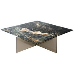 Claste Beside Myself Large Coffee Table in Belvedere Black Marble and Glass Base