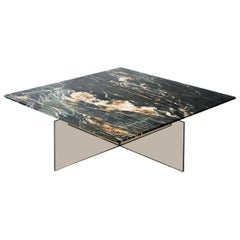 Claste beside Myself Medium Coffee Table in Belvedere Black Marble & Glass Base