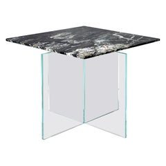 Claste Beside Myself Mini Square End Table in Belvedere Black Marble and Glass