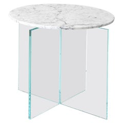 Claste beside Myself Round Large End Table in Carrara Gioa Marble and Glass Base
