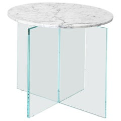 Claste beside Myself Round Small End Table in Carrara Gioa Marble and Glass Base