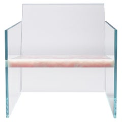 Claste How Fragile This Love Lounge Chair in Glass and Pink Onyx Marble