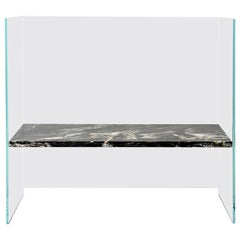 Claste So We Meet Again Large Bench in Glass with Belvedere Black Marble