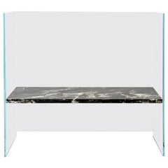 Claste So We Meet Again Medium Bench in Glass with Belvedere Black Marble