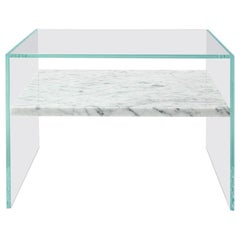 Claste to Float Within Side Table in Ultra Clear Glass and Cararra Gioa